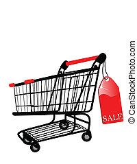 vecteur, achats, vente, charrette, étiquette