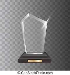 vecteur, acrylique, réaliste, vide, récompense, trophée, verre, transparent