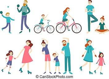 vecteur, activités, jeu, gosses, cyclisme, famille, gens., tennis., sports, séance entraînement, illustration, fitness, style de vie, sport, couple