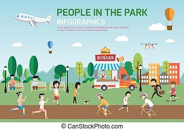 vecteur, activités, plat, illustration., délassant, gens, nourriture, nature, parc, repos, infographic, divers, avoir, temps, truck., dépenser, éléments, design.