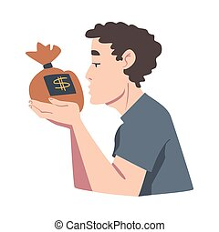 vecteur, adoration, profit, dessin animé, reussite, sac, ...