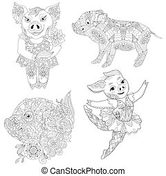 vecteur, adultes, porcin, fleurs, livre coloration