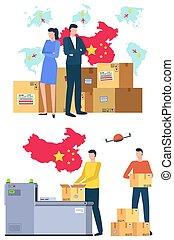 vecteur, affaires internationales, porcelaine, livraison