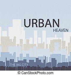 vecteur, affiche, créatif, ciel, urbain, industriel, paysage