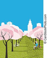 vecteur, affiche, loisir, ville, fleurir, parc, activité