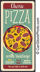 vecteur, affiche, saucisse, retro, pizza