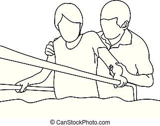 vecteur, aider, barres, femme, contour, hôpital, isolé, soutien, lignes, croquis, illustration, promenade, thérapeute, arrière-plan noir, dessiné, blanc, main, gymnase, mâle, physique