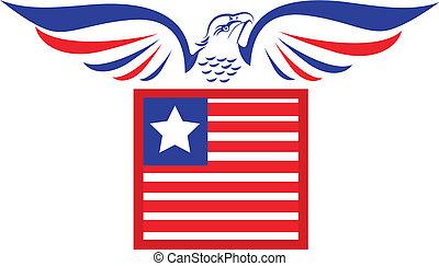 vecteur, aigle, drapeau, chauve, logo