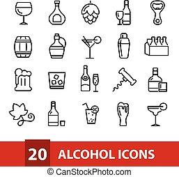 vecteur, alcool, collection, icônes