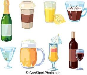 vecteur, alcoolique, alcool, bouteilles, non, boissons, lunettes