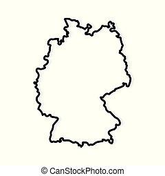 vecteur, allemagne, contour, illustration, map-