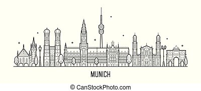 vecteur, allemagne, munich, ville bâtiments, horizon