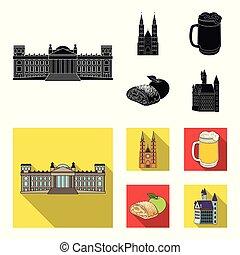 vecteur, allemagne, repère, noir, illustration., plat, ensemble, pays, toile, stockage, collection, symbole, icônes, design.