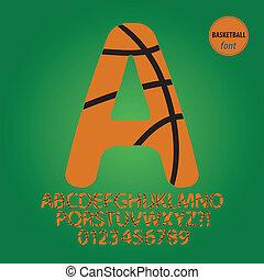 vecteur, alphabet, chiffre, boule basket-ball