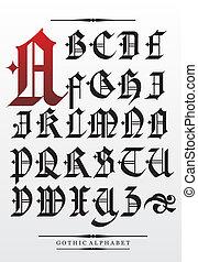 vecteur, alphabet, police, gothique, type