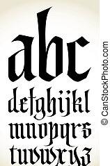 vecteur, alphabet, police, gothique