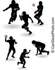 vecteur, américain, ensemble, silhouettes, football