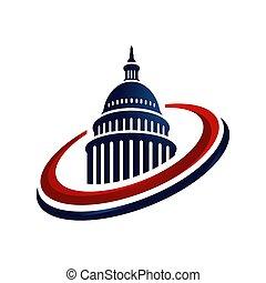 vecteur, américain, logo, créatif, bâtiment, simple, capitole, conception