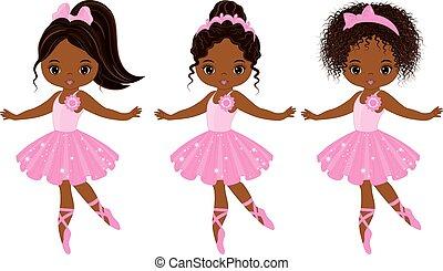 vecteur, américain, mignon, peu, divers, coiffures, africaine, ballerines