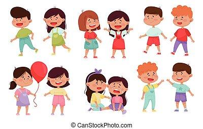 vecteur, amical, jouets, chaque, peu, gosses, socialiser, ...