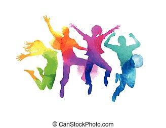 vecteur, amis, sauter, groupe, aquarelle