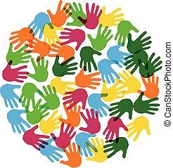 vecteur, amitié, fond, main imprime, cercle
