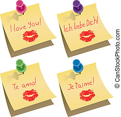 vecteur, amour, épingle, notes, jaune, papier, mots, poussée, vous