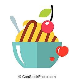 vecteur, amour, doux, dessert., plat, style, coloré, dessin...