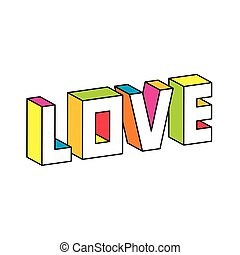 vecteur, amour, illustration, 3d