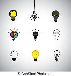 vecteur, ampoules, différent, concept, genres, &, lumière, icônes, idée, ensemble