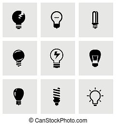 vecteur, ampoules, ensemble, noir, icône