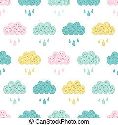 vecteur, amusement, coloré, nuages, seamless, modèle