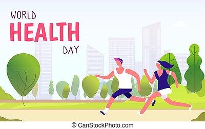 vecteur, amusement, concept, style de vie, sain, global, fitness, arrière-plan., coureur, femme, santé, healthcare, médecine, mondiale, vacances, jour, homme