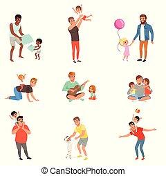 vecteur, amusement, peu, ensemble, pères, ensemble, avoir, leur, bon, jouer, fond, temps, illustrations, blanc, apprécier, qualité, enfants
