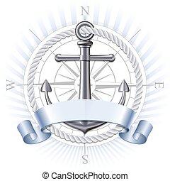 vecteur, ancre, emblème