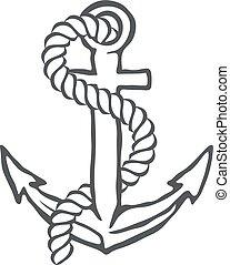 vecteur, ancre, rope.