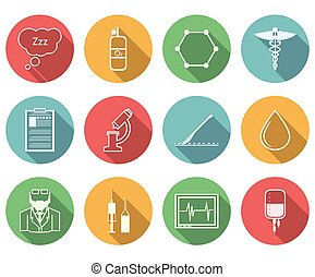 vecteur, anesthésiologie, coloré, icônes