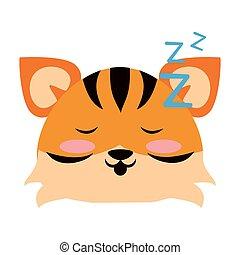 vecteur, animal, dessin animé, tigre, mignon, illustration