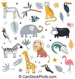 vecteur, animaux, collection, lion, dangereux, mignon, éléphant, plants., girafe, alligator, flamant rose, chat, safari, exotique, sauvage
