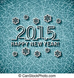 vecteur, année, 2015, nouveau, carte, heureux
