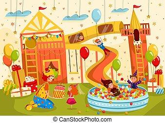 vecteur, anniversaire, amusement, illustration, filles, enfants, fête, garçons, cour de récréation, avoir
