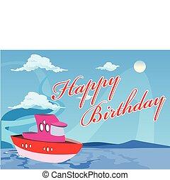 vecteur, anniversaire, bateau, illustration, heureux