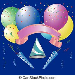vecteur, anniversaire, ensemble, elements., fête