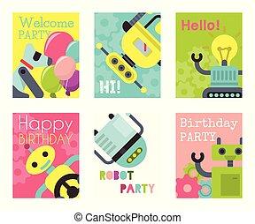 vecteur, anniversaire, welcome., ensemble, illustration., technology., intelligence, robotique, robot, artificiel, chien, bannières, conception, celebration., onduler, cartes, fête, gosse, futuriste, ami, heureux