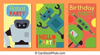 vecteur, anniversaire, welcome., ensemble, illustration., technology., intelligence, robotique, robot, artificiel, chien, bannières, conception, celebration., onduler, cartes, fête, futuriste, ami, gosse