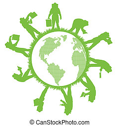 vecteur, apiculture, planète, concept, écologie, fond, vert