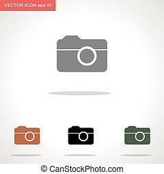 vecteur, appareil photo, blanc, icône, isolé, fond