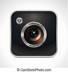 vecteur, appareil photo, carrée, retro, icône