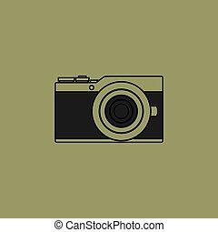 vecteur, appareil photo, mirrorless, illustration