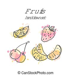 vecteur, aquarelle, ensemble, illustration., coloré, dessiné, main, splashes., fruit, fruits, frais